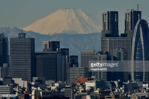 mt. fuji und skyline von tokyo: tagsüber und abends - nishi shinjuku stock-fotos und bilder