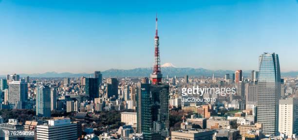 mt. fuji and tokyo skyline - 町 ストックフォトと画像
