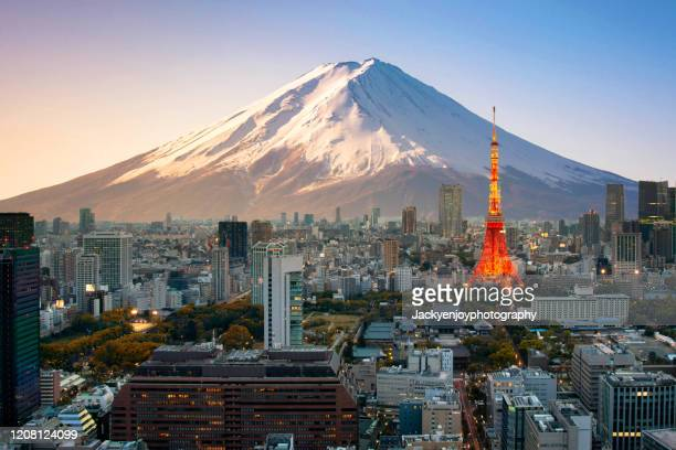 mt. fuji and tokyo skyline - japan stock pictures, royalty-free photos & images