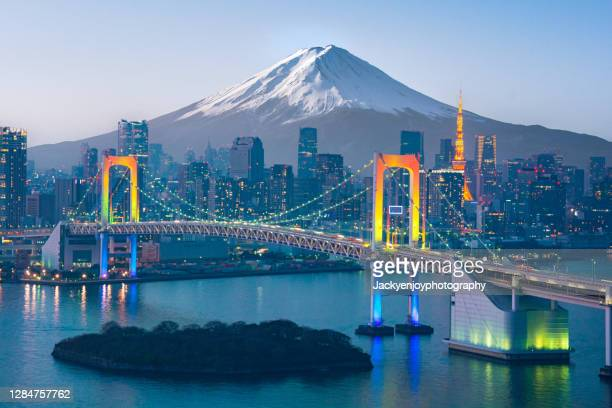 mt. fuji and tokyo skyline - tokyo japan stock pictures, royalty-free photos & images