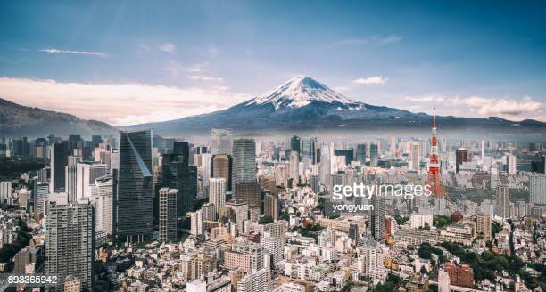 mt. fuji and tokyo skyline - panorama stock pictures, royalty-free photos & images