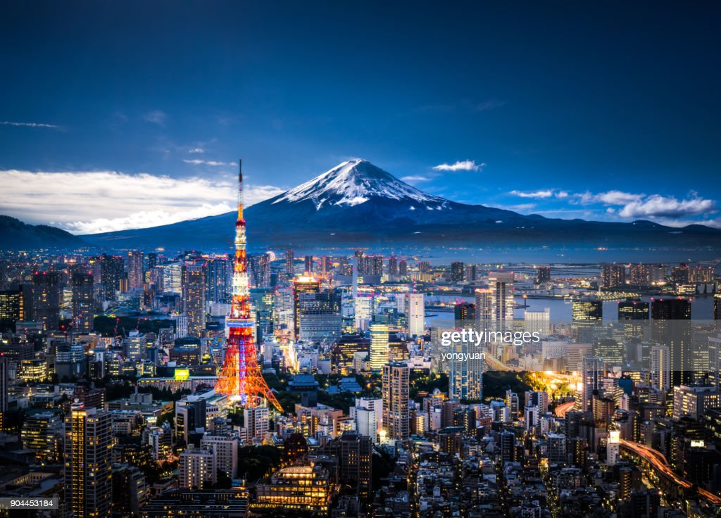 Mt. Fuji and Tokyo skyline : Foto de stock