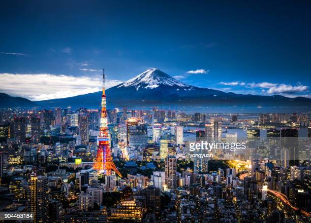 mt. fuji and tokyo skyline - tower stock pictures, royalty-free photos & images
