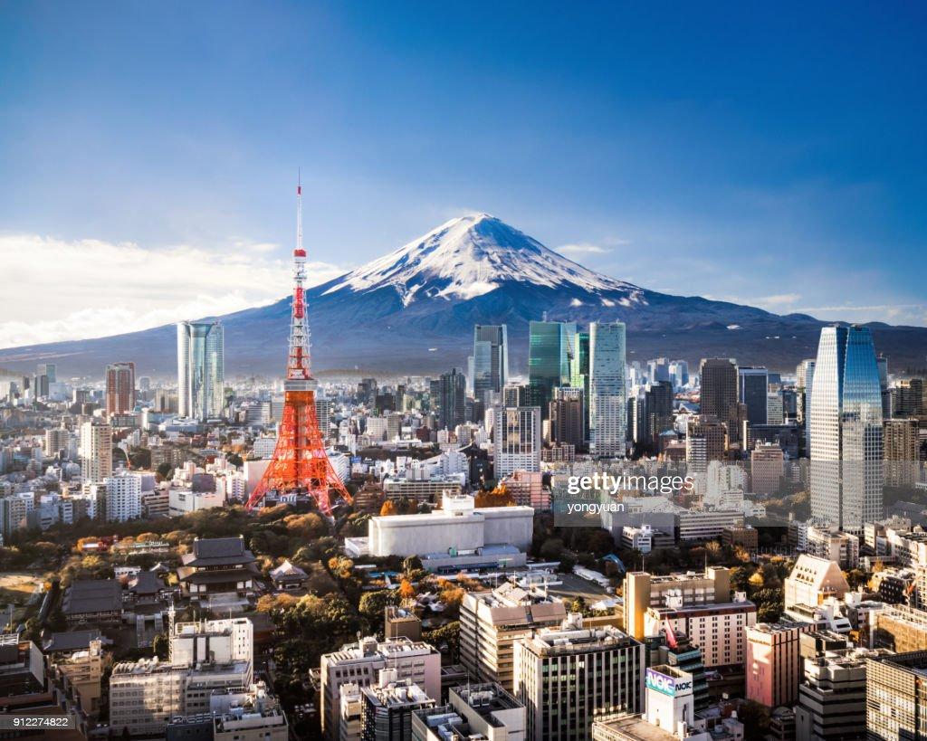 Mt. Fuji and Tokyo Skyline : Stock Photo
