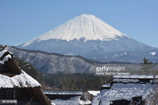 Mt Fuji and traditional houses