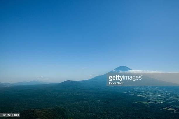 Mt. Fuji and vast forest from above, Japan