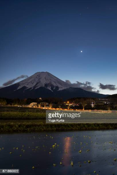 Mt. Fuji and Venus over Water-Filled Empty Rice Fields