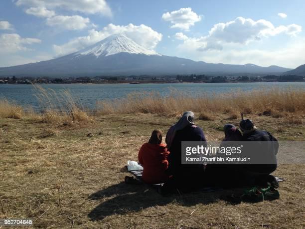 Mt Fuji and visitors picnic
