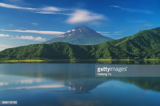 Mt. Fuji as seen from Lake Kawaguchikou