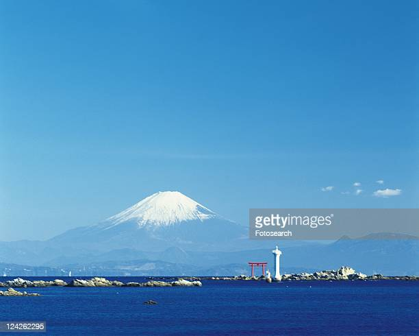 Mt. Fuji from Hayama Beach, Shonan, Kanagawa Prefecture, Japan, Low Angle View, Pan Focus