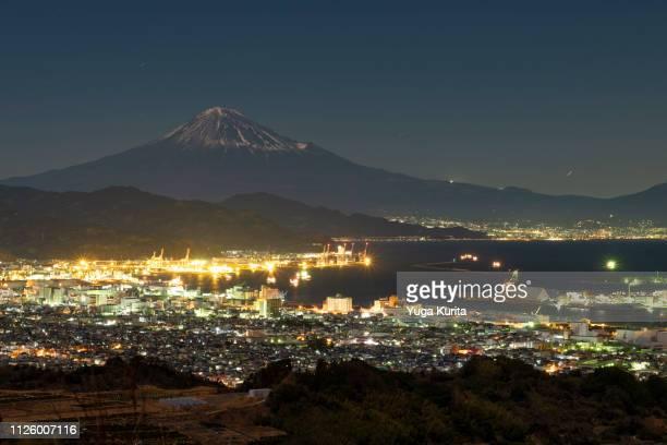 Mt. Fuji from over Port Shimizu in Shizuoka at Night