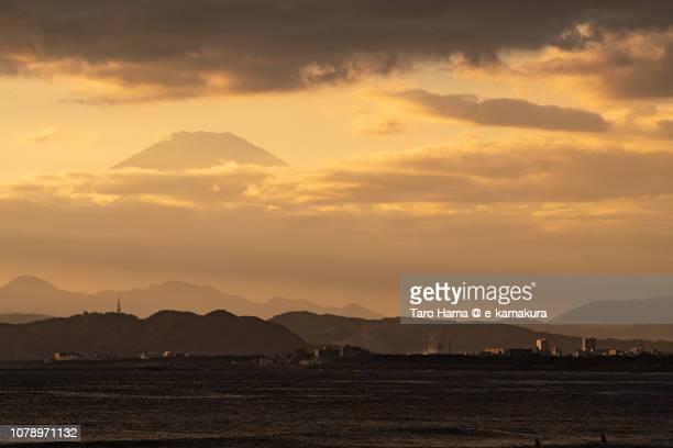 Mt. Fuji, Hiratsuka city and Oiso town and Sagami Bay, Northern Pacific Ocean in Japan