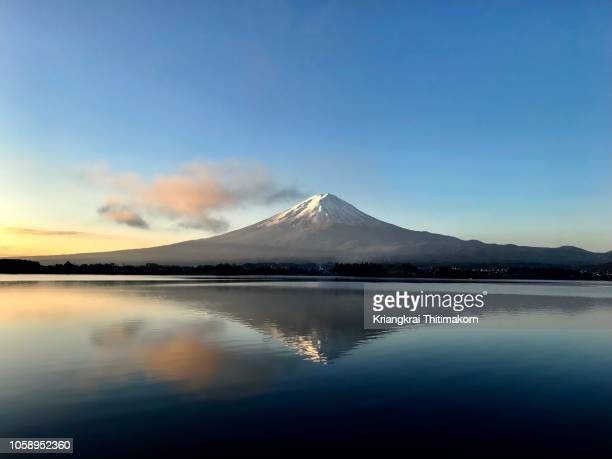 mt. fuji in the morning. - mt fuji stock photos and pictures