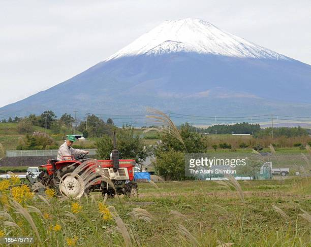 Mt. Fuji is covered with the first snow of the season on October 19, 2013 in Susono, Shizuoka, Japan.