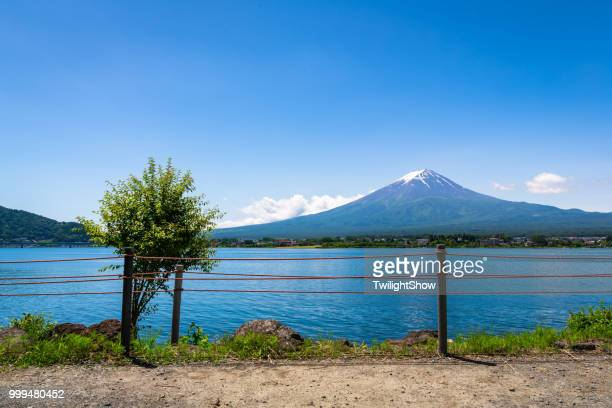 Mt. Fuji Japan volcano mountain at summer day with blue sky