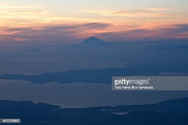 mt. fuji, miura and boso peninsula aerial view from airplane - peninsula stock pictures, royalty-free photos & images