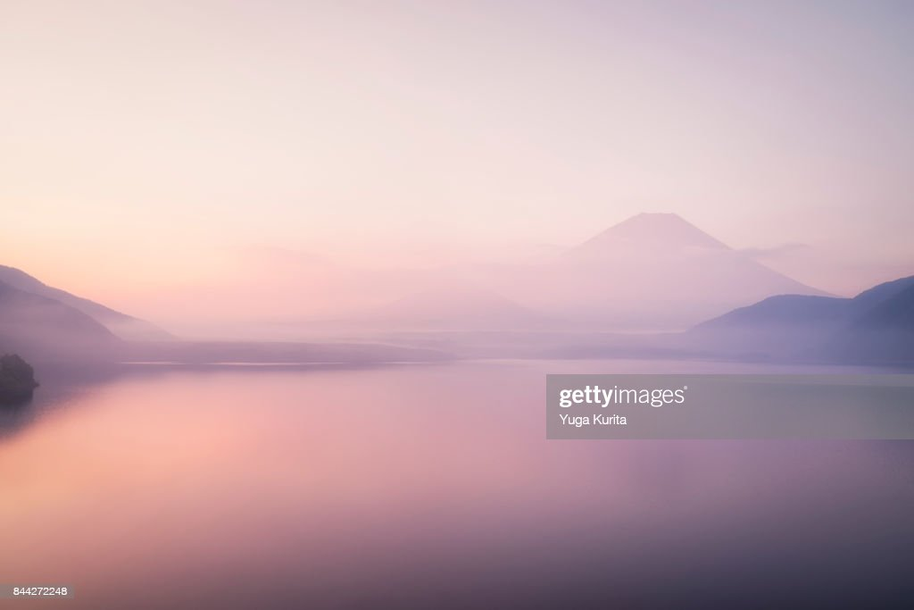 Mt. Fuji over a Foggy Lake : Stock Photo