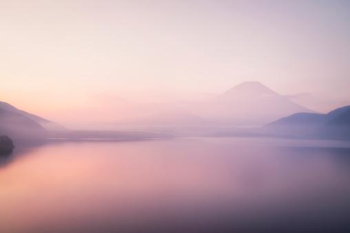 Mt. Fuji over a Foggy Lake - gettyimageskorea