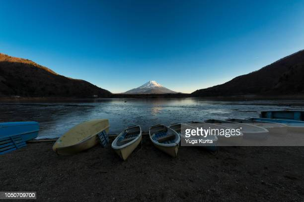 Mt. Fuji over a Frozen Lake in Winter