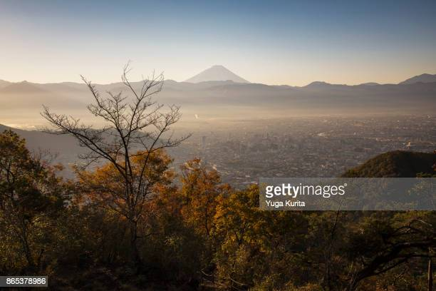 Mt. Fuji over Kofu City in Autumn