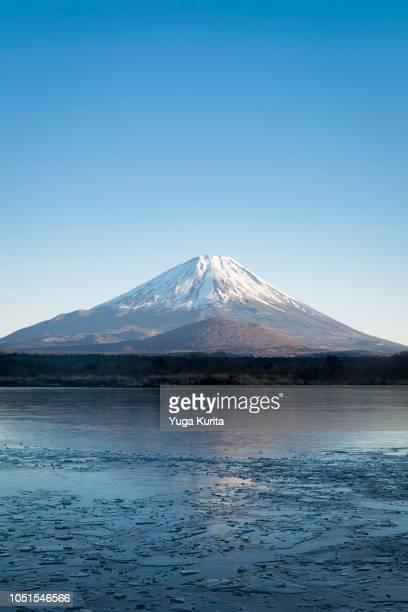 Mt. Fuji over Lake Shoji in Winter