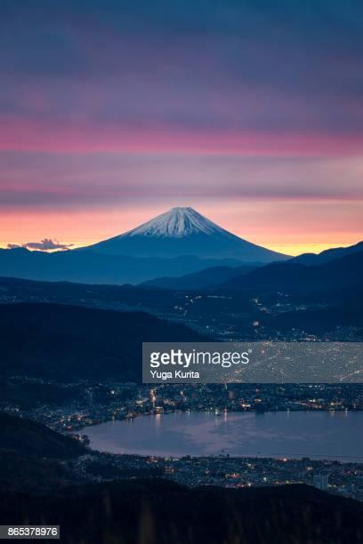 Mt. Fuji over Lake Suwa at Dawn