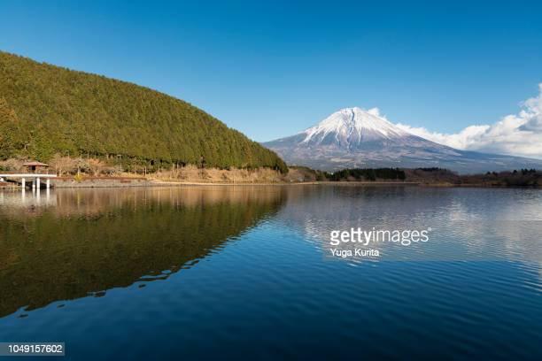 Mt. Fuji over Lake Tanuki in Winter