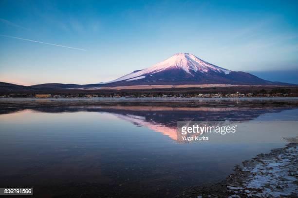 mt. fuji over lake yamanaka in winter - fuji hakone izu national park stock photos and pictures
