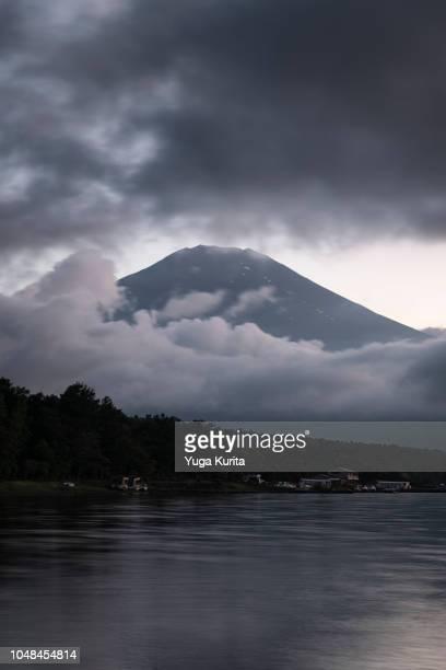 Mt. Fuji over Lake Yamanaka on a Cloudy Day