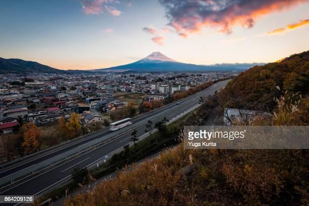 Mt. Fuji over the Highway and Town of Fujiyoshida