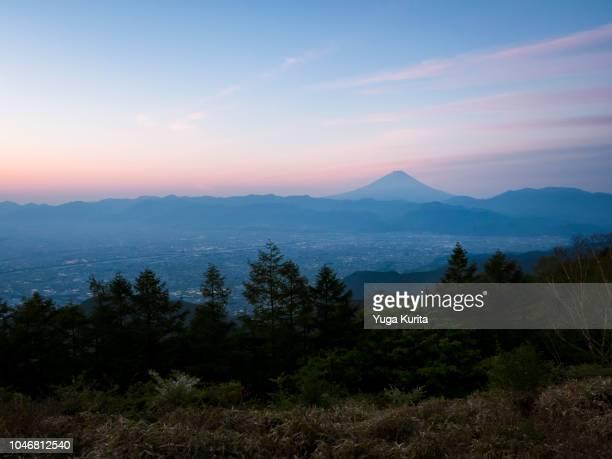 Mt. Fuji over the Kofu Basin at Dawn