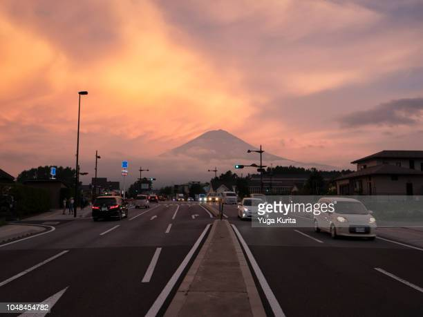 Mt. Fuji over the Street at Dusk