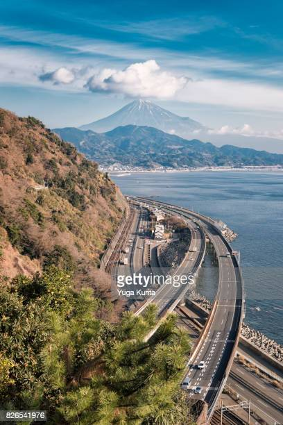 Mt. Fuji over the Suruga Bay and Tomei Expressway