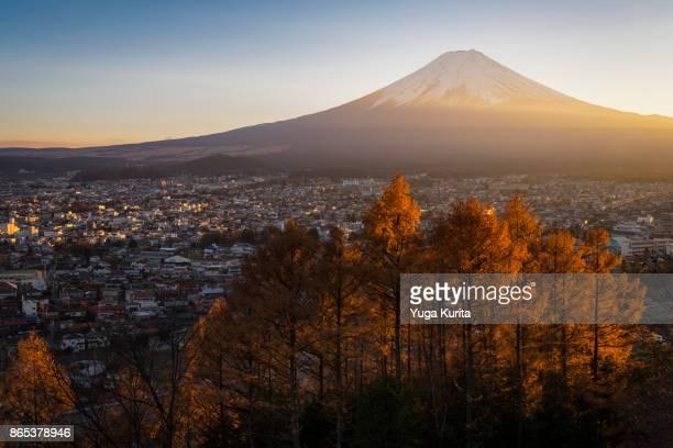 Mt. Fuji over the Town of Fujiyoshida