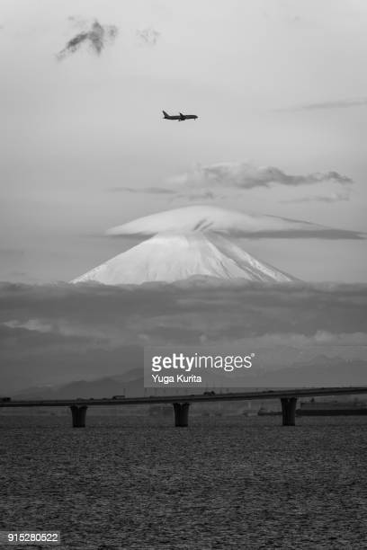 Mt. Fuji over the Trans Tokyo Bay Highway with a Lenticular Cloud