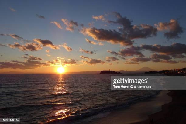 Mt. Fuji, Sagami Bay and Enoshima Island in the sunset