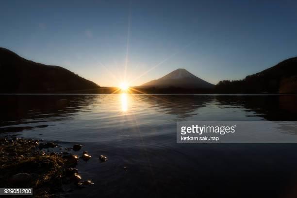 Mt Fuji sunrise at lake Shoji, Yamanashi, Japan