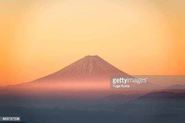 mt. fuji taken from a distance - mount fuji stock photos and pictures