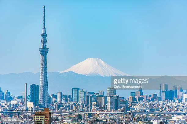 mt fuji & tokyo sky tree - prefettura di tokyo foto e immagini stock
