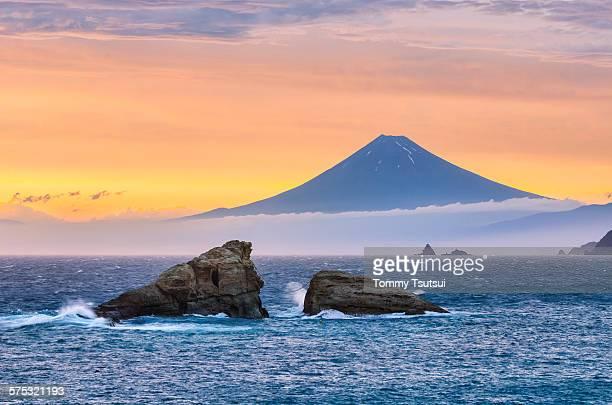 Mt fuji & twin rocks in the dramatic sky