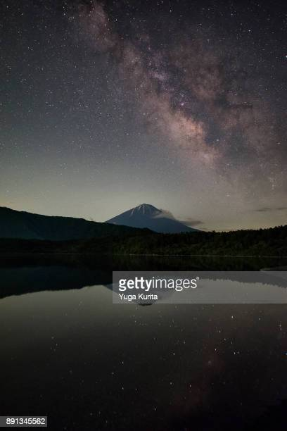 mt. fuji under the milky way - reflection lake stock photos and pictures
