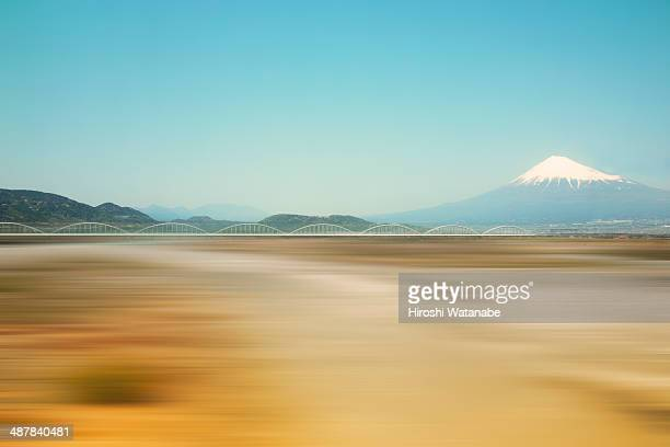 mt. fuji view from super express train - shizuoka stock pictures, royalty-free photos & images