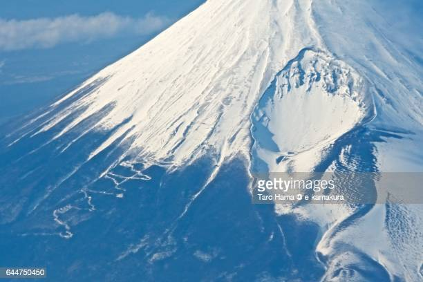 Mt. Fuji winter aerial view from airplane