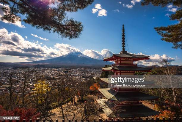 Mt fuji with red pagoda in autumn, Fujiyoshida Japan. Japan autumn season with Mt fuji and red pagoda, one of the most famous view of Fuji Mountain.