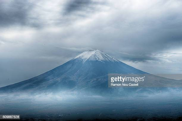 Mt Fuji without clouds on a cloudy day
