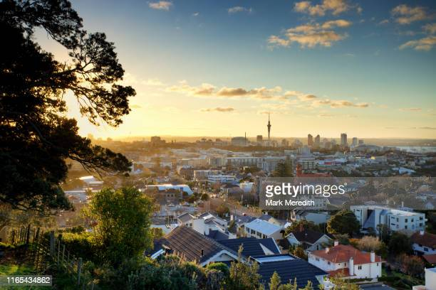 mt hobson overlooking auckland - auckland stock pictures, royalty-free photos & images