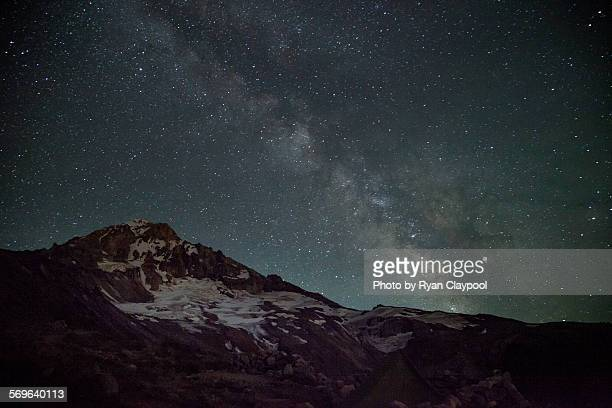 Mt. Hood at night with stars and the Milky Way