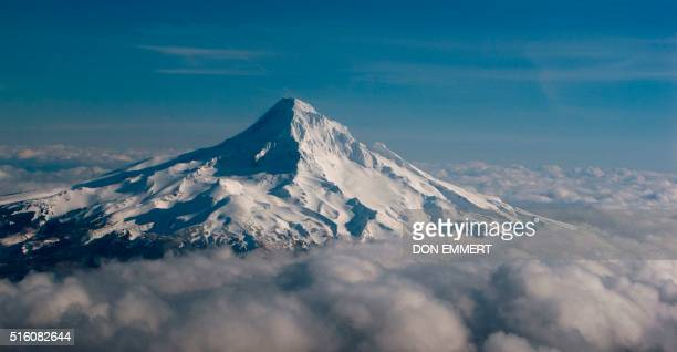 Mt Hood rises above the clouds March 17 2016 near Portland Oregon Portland is about to host the International Association of Athletics Federations...