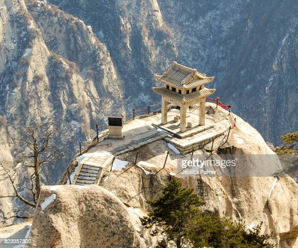 mt hua shan chess playing pavillian - lotus flower peak stock pictures, royalty-free photos & images