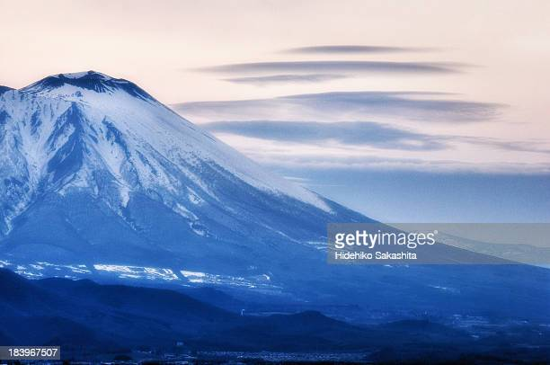 mt. iwate in snow - iwate prefecture stock photos and pictures